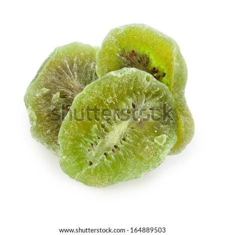 Dried kiwi fruit isolated on white background  - stock photo