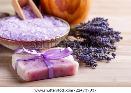 Dried lavender for aromatherpy and spa: soap and bath salt  - stock photo
