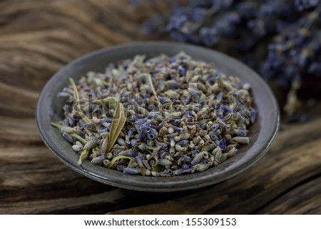 Dried lavender with wood - Stock photo - stock photo