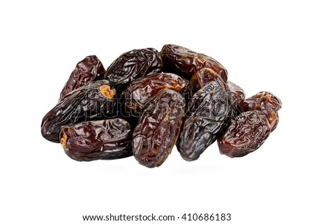 Dried Medjool Dates over a white background with clipping path. - stock photo
