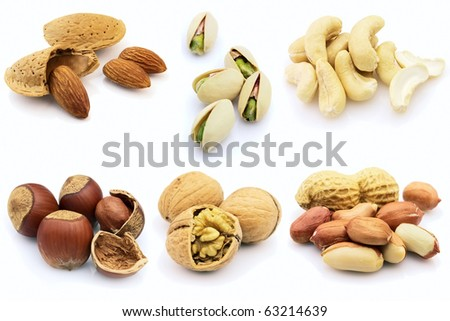 Dried nuts on a white background - stock photo