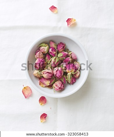 Dried organic rose buds - stock photo