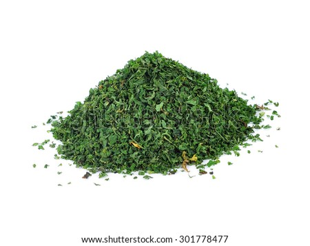 dried parsley isolated on white background. - stock photo