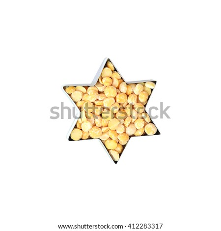 Dried peas in a star shape. Dried peas isolate on a white background. Barley split peas. Dried peas on a white background. Dried peas for a healthy diet - stock photo