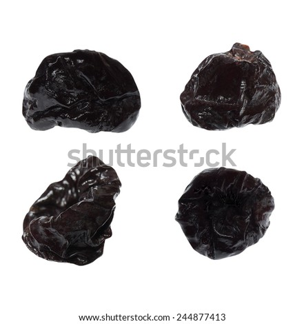 Dried prunes on isolated on white background - stock photo