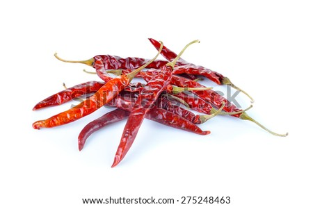 dried red chili pepper on white background - stock photo