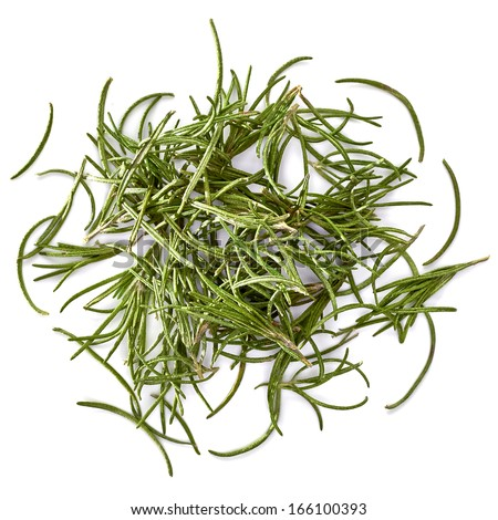 Dried rosemary leaves top view - stock photo