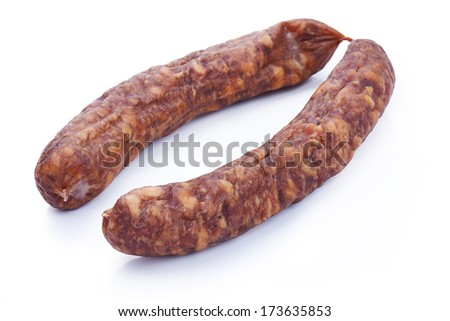Dried salami isolated on white background - stock photo