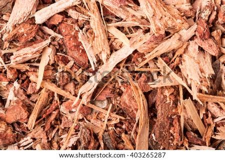 dried shredded oak bark as background close-up macro - stock photo