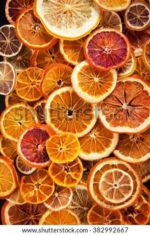 Dried slices of orange,grapefruit, lemon, lime and tangerine fruit - stock photo