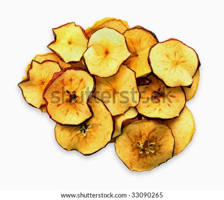 Dried slices of red and yellow apples - stock photo