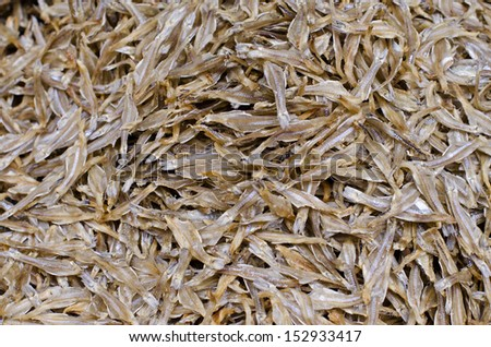 Dried Small fish used in Asian cuisine - stock photo