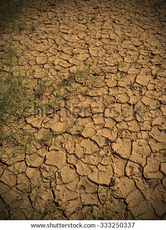 dried up land and environment due to drought and climate change - stock photo