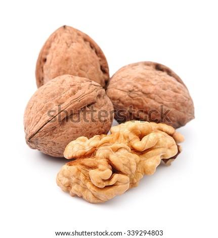 Dried walnut close up - stock photo