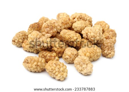 Dried white mulberries on white background - stock photo