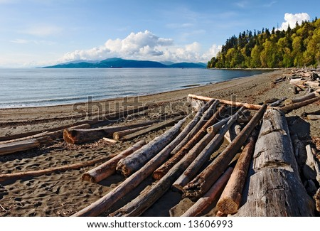 Driftwood on a sandy beach on Point Grey in Vancouver. Bowen Island is visible in the distance - stock photo