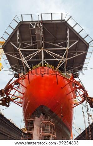 Drill Ship in Sembawang Shipyard - stock photo