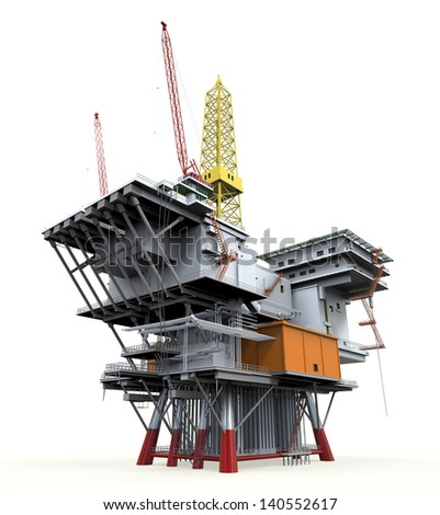 Drilling Offshore Platform Oil Rig - stock photo