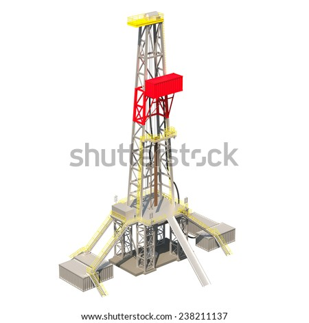 Drilling oil rig isolated on white - stock photo