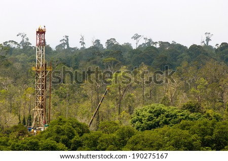 Drilling rig in a tropical jungle  - stock photo