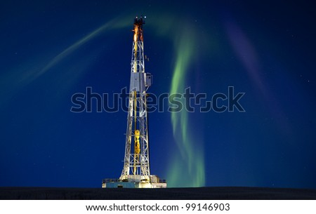 Drilling Rig Potash Mine Night Photography Northern Lights Aurora - stock photo