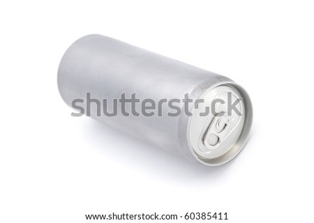 Drink can from blank aluminum isolated on white background - stock photo