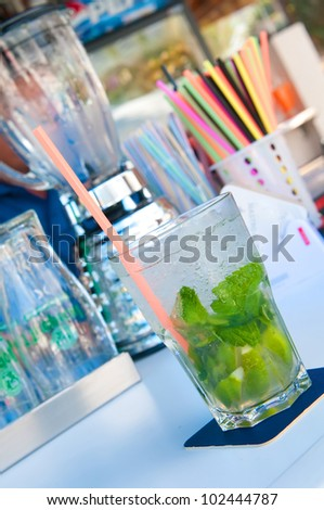 drink cocktail in a bar - stock photo