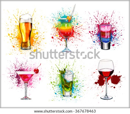 Drink cocktail set watercolor illustration isolated on white background - stock photo