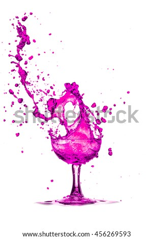 Drink Cocktail splash of pink glass on a white background. - stock photo