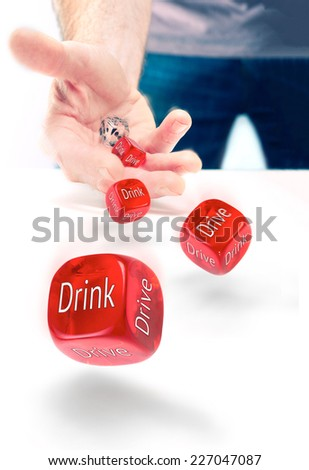 Drink drive risk, gamble losing license. - stock photo