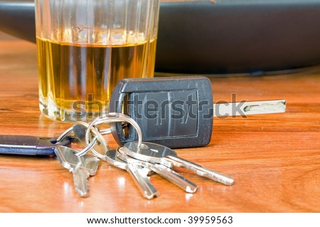 drink driving whiskey and keys - stock photo