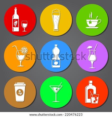 Drink flat icons set - stock photo