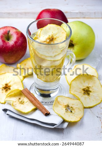 Drink from dried apples, selective focus - stock photo