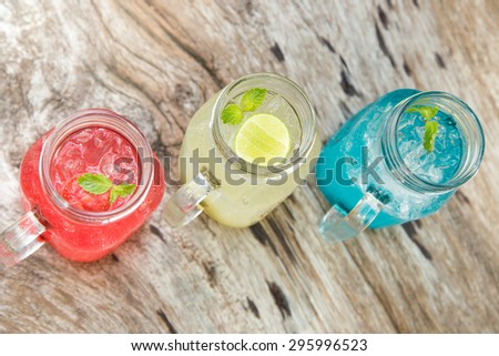 Drink soda mixed with fruit juice. - stock photo