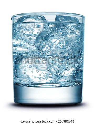 Drink with ice close-up isolated on white - stock photo
