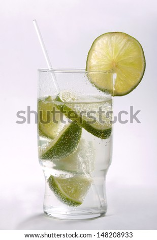 Drink with lime - stock photo