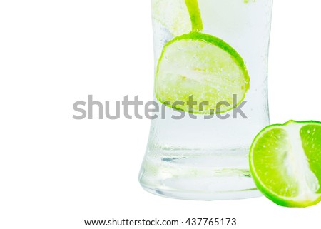 Drink with lime and mint white background . - stock photo