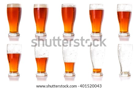 Drinking beer process concept idea. Ten steps of discharge glass of beer. - stock photo