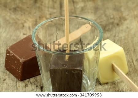 drinking chocolate lollies - stock photo