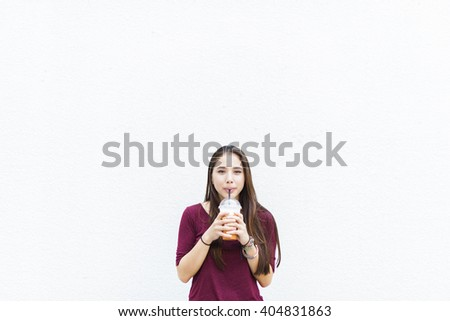 Drinking Fresh Beverage Relaxation Tea Straw Concept - stock photo