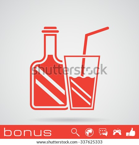 drinking glass and bottle - stock photo
