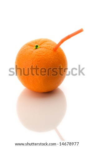 Drinking straw in orange, pure juice, on white background with reflection - stock photo