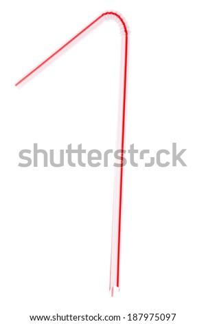 drinking straw on white - stock photo