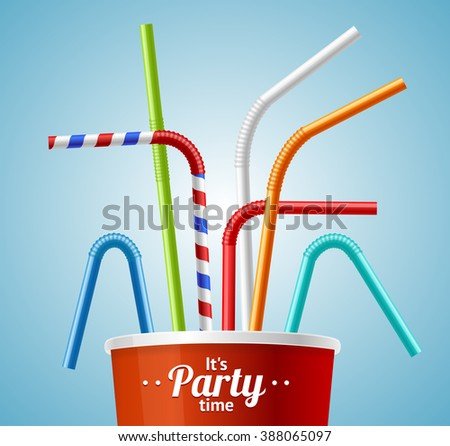 Drinking Straws and Cup Party Placard or Flyer with Inscription. illustration - stock photo