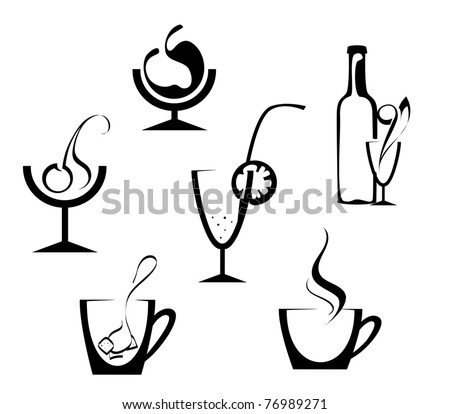 Drinks and beverages icons isolated on white. Vector version also available in gallery - stock photo