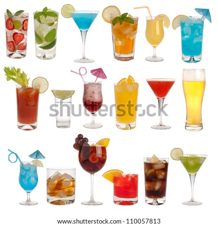 Drinks, coctails and beer isolated on white background - stock photo