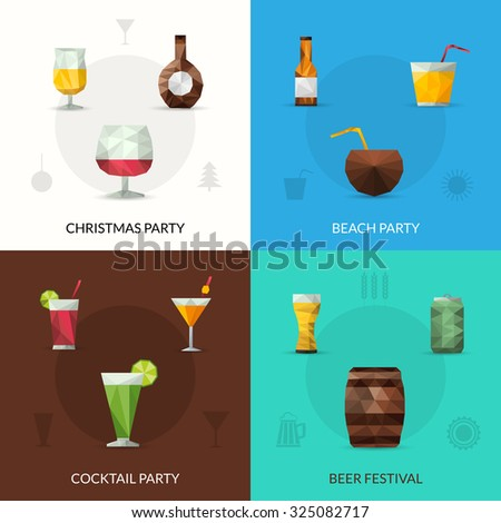 Drinks design concept set with christmas cocktail party beer festival polygonal icons isolated  illustration - stock photo