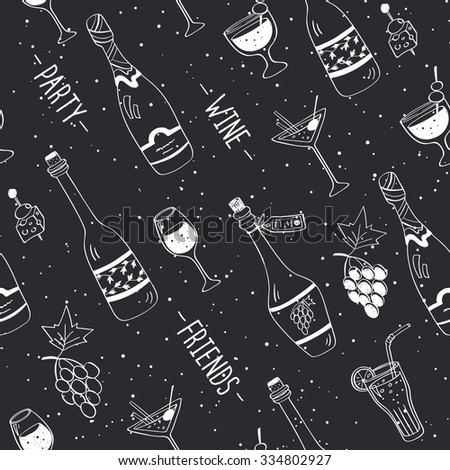 Drinks doodle pattern. Hand drawn beverages seamless background. Doodle snacks and drinks drawn on chalkboard. Beverages, glass, bottles, grapes, snacks. Wine, friend, party. - stock photo