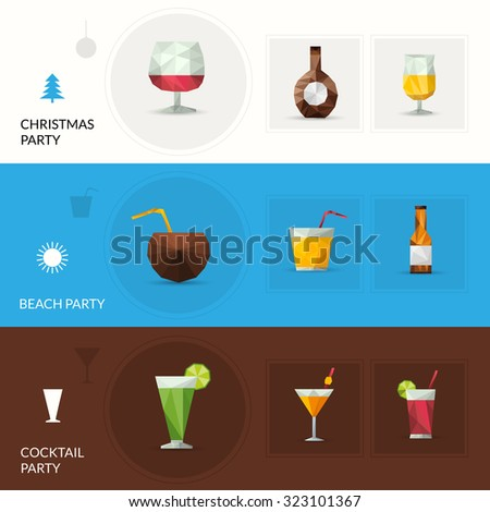 Drinks horizontal banner set with christmas beach cocktail party elements isolated  illustration - stock photo