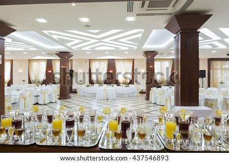 Drinks in restaurant ready to be served - stock photo